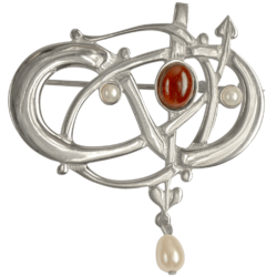 HSH042 Sterling Silver Entwined Brooch With Garnet & Pearls GB105/G