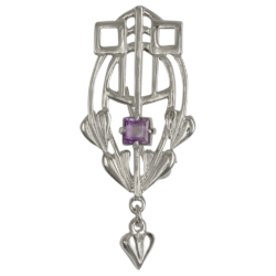 "HSH043 Shetland Jewellery ""Glasgow Girls"" Silver Brooch With Facetted Amethyst GB250"