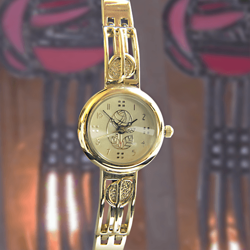 M90G Charles Rennie Mackintosh Gold Plated Ladies Half Bangle